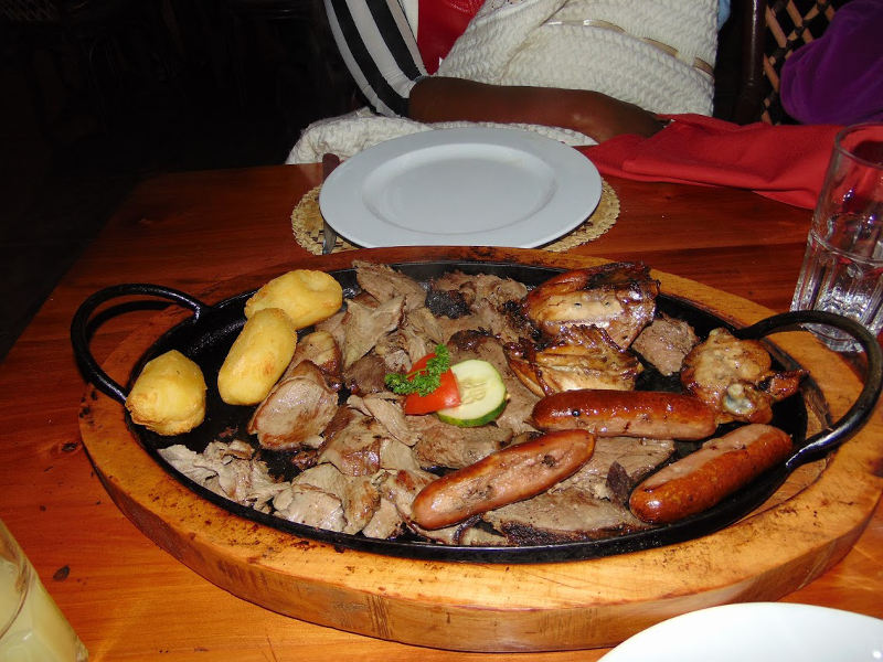 Food at the Carnivore Restaurant