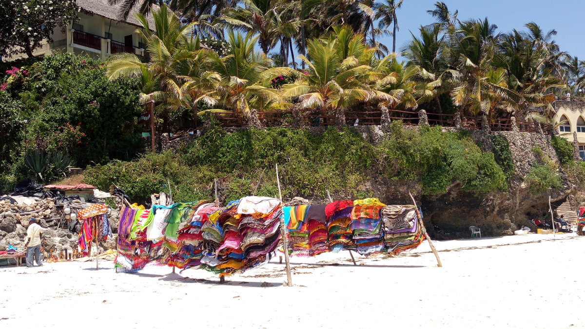 Fabrics for sale on Nyali Beach, Kenya