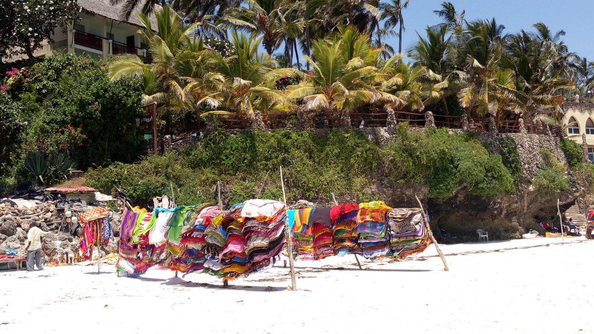 Fabrics for sale on Nyali Beach, Kenya